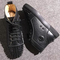 Cl Christian Louboutin Lou Spikes Style #2217 Sneakers Fashion Shoes - Best Online Sale