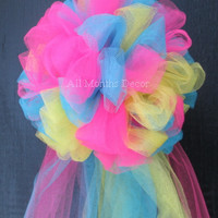 Three Color Party Birthday Half Pom Tulle Bow