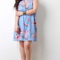 Plus Size Rose Blossom Mock Neck Shift Dress