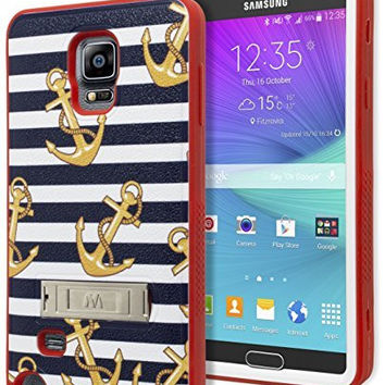 Samsung Galaxy Note 4 Hybrid  Red Cover  Gold AnchorsStripes Case
