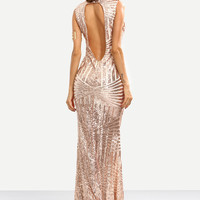 Rose Gold Sequins Embedded Cut Out Back Mermaid Dress