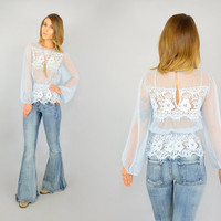 70's Powder Blue SHEER + LACE edwardian prairie Peplum peasant boho Poet Sleeve BLOUSE, extra small-medium
