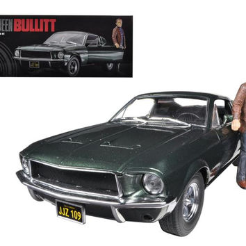 "1968 Ford Mustang GT Fastback ""Bullitt"" Highland Green with Steve Mcqueen Figure 1-18 Diecast Car Model by Greenlight"