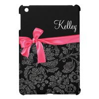 Elegant Glitter Black Damask Girly Hot Pink Bow iPad Mini Case from Zazzle.com