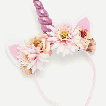 Flower Embellished Unicorn Headband