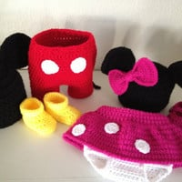 Mickey Mouse or Minnie Mouse baby set outfit photo prop