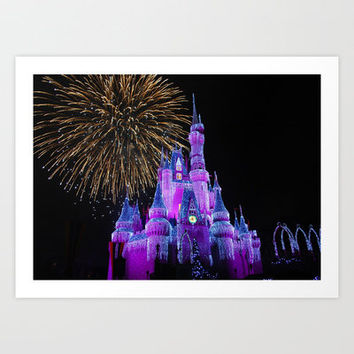 Disney Magic Kingdom Fireworks at Christmas - Cinderella Castle Art Print by Hub Photos