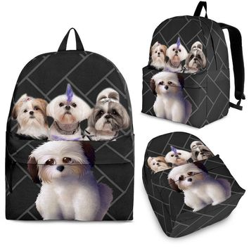 Shih Tzu Dog Print Backpack-Express Shipping