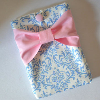 iPad Mini Sleeve iPad Mini Case iPad Mini Cover Kindle Nook Nexus Light Blue and White Damask with Pink Bow