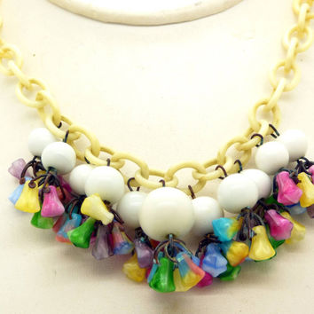 Antique Colorful Art Deco Czech Glass Flower Dangle Necklace, Celluloid Chain