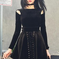 Casual Solid Black Goth Hollow Out Long Sleeve Top