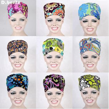 Unisex 9 Kinds Food Service Working Beauty Cap Chef Hat Flower Printing Scrub Cap Medical Surgical Surgery Hat DAJ9016