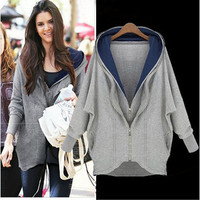 Double Zipper Design Irregular Hooded Coat