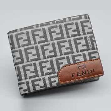 FENDI Newest Fashioanble Men Women Wallet Purse Grey
