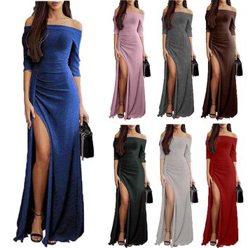 Shiny Off Shouder Short Sleeve Dress Party Split Dresses High Waist Long Dress Fashion Women Clothes Drop Shipping
