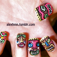 Tiki tribal fake nails