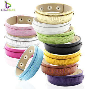 "10PCS 18+8MM  PU Leather DIY Wristband Bracelets"" Can choose the 12  Colors"" Fit Slide Letter LSBR014*10--LSBR014-12*10"