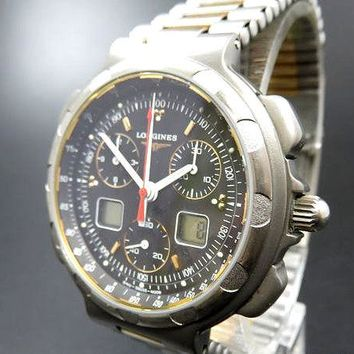 LONGINES CONQUEST Titanium Chronograph Digital Day & Date Quartz Watch [524]