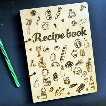 Recipe book Wood Anniversary gift Cookbook Recipe binder Bridal Shower gift for Bride Mom Friend Man REcipe journal custom Personalised