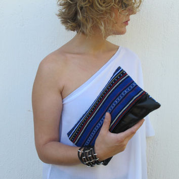 Black leather folded clutch with traditional blue Greek woven fabric. Crete-Clutch 01 Available in other colors too.  NEW