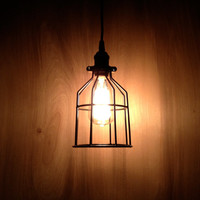 Industrial Minimal Design Black Metal Cage Pendant Light, Modern Pendant Lighting, Black Cage Hanging Light, Use w/Antique style Edison Bulb