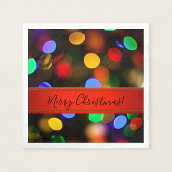 Multicolored Christmas lights. Add text or name. Paper Napkin