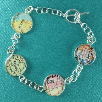 Map Charm Bracelet Quadruple