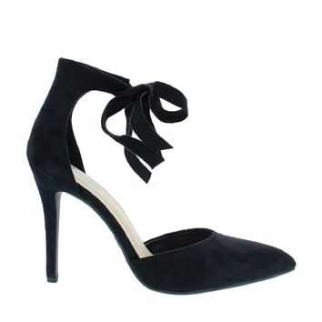 Front Tie Pointed Mary Jane Pump (BLACK)