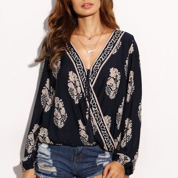Tie Front Botanical Print Draped Blouse