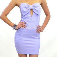 Lovely Fella Big Bow Top Purple Strapless Dress