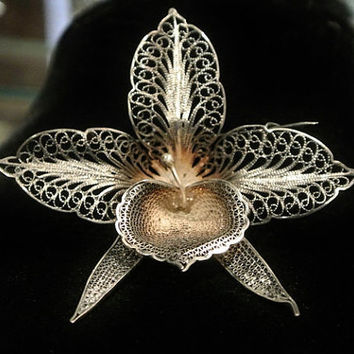 1800's Cannetille Filigree Brooch Orchid Flower Floral French 800 Silver Lace Metal Work Antique Victorian Art Nouveau Wedding Bride Bridal
