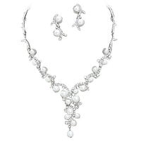 Statement Y Drop White Pearl Bridal Necklace Set Prom Earring Set Z5