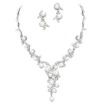 Statement Y Drop White Pearl Bridal Necklace Set Prom Earring Se 41132f546726