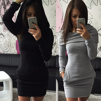 2017 women clothing winter dress Solid hooded dress Bodycon Sexy mini autumn dress women vestidos ukraine party dresses Black