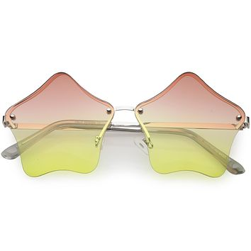 Women's Novelty Cute Twin Stars Color Tone Sunglasses Glasses C631