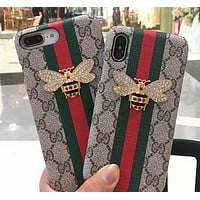 GUCCI paneling bee iphone7 leather iphone7plus phone case, iphone7plus