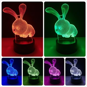 Cute Kawaii Cartoon Animal Rabbit Color Changing 3D Table Lamp LED Night Light for Home Children Bedroom Decor Kids Birthday Gift