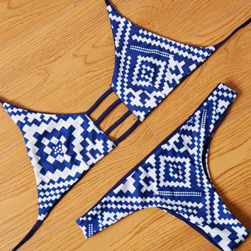 Chic Retro Reversible Swimsuit Bikini Set