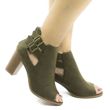 Wilma Olive Green Pu By Soda, Peep Toe Cut Out Ankle High Stacked Heel Booties