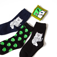 Elegant Creative Harajuku Casual Cartoon Hip Hop Cat Cotton Women Skateboard Socks Art Socks Funny Alien Planet Socks