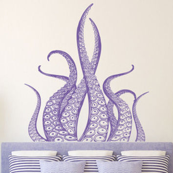 Octopus Tentacles Decal- Kraken Wall Decal Ocean Sea Animals Octopus Tentacles Decor- Nautical Wall Decals Bedroom Bathroom Home Decor 036