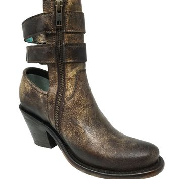 Corral Brown Buckle Straps Booties A3233