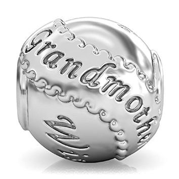 BELLA FASCINI Grandmother Family Bead Charm 925 Sterling Silver Fits Compatible Bracelets and Bangles