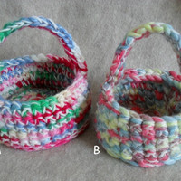 Little Crochet Baskets, candy basket, cute easter basket, small flower basket (choose 1)