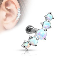Cartilage Five Opal Ball 316L Surgical Steel Tragus/Cartilage Barbell Helix Conch Earring