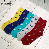 Cartoon animal Bear duck whale puppy pattern women socks Creative Cute  Cotton Sock ladies warm socks 5 pairs/lot