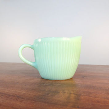 Vintage Fire King Jadeite Pitcher in the Jane Ray Pattern, Jadite