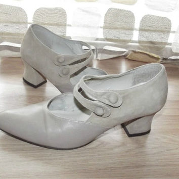 Vintage 80s Neo Victorian Button Strap Mary Jane Pumps High Heel Granny Shoes 6 1/2 Steampunk Leather Enzo Angiolini