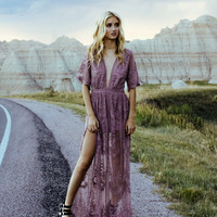 Chloe Lace Maxi Dress (Lavender)