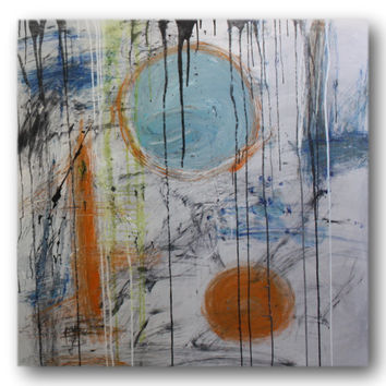 Abstract art canvas painting grey 100cm x 100cm